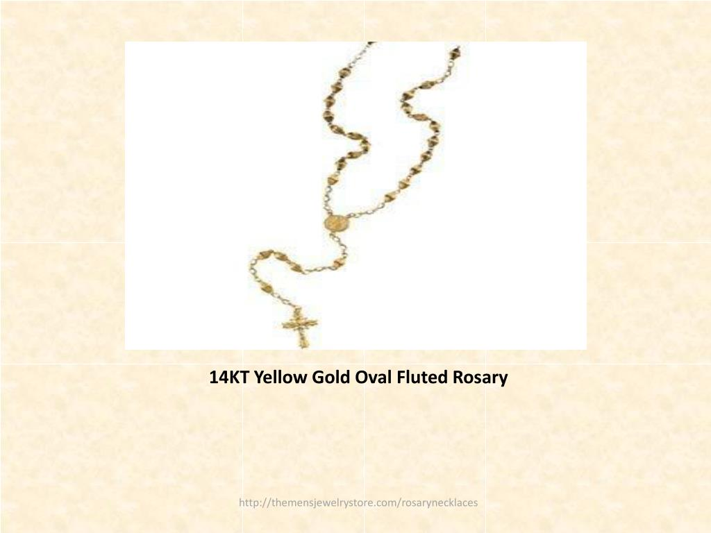 14KT Yellow Gold Oval Fluted Rosary