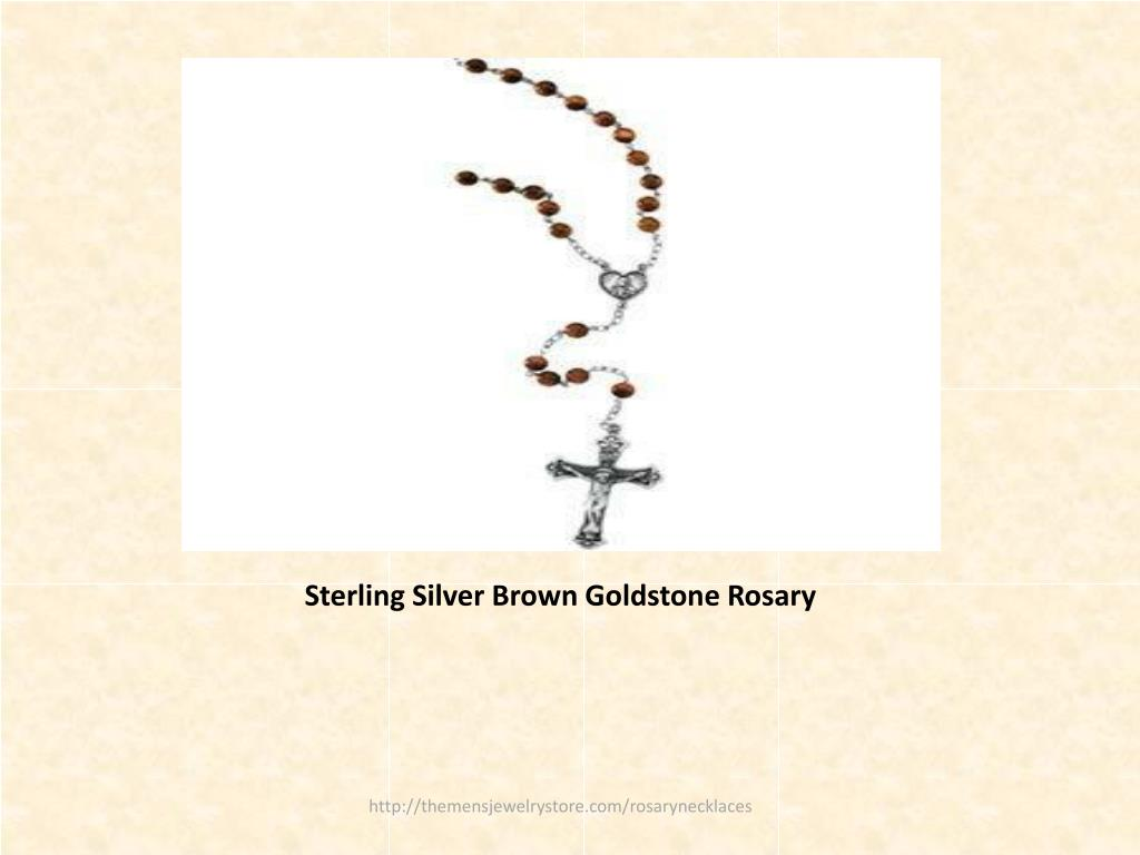 Sterling Silver Brown Goldstone Rosary