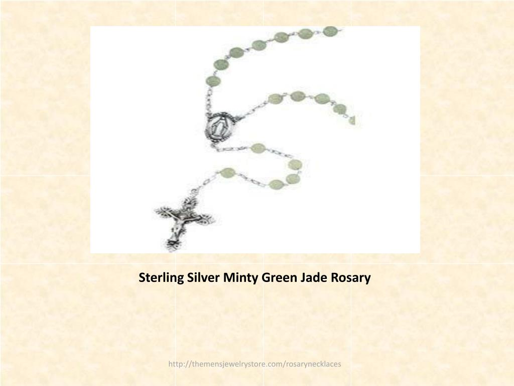 Sterling Silver Minty Green Jade Rosary