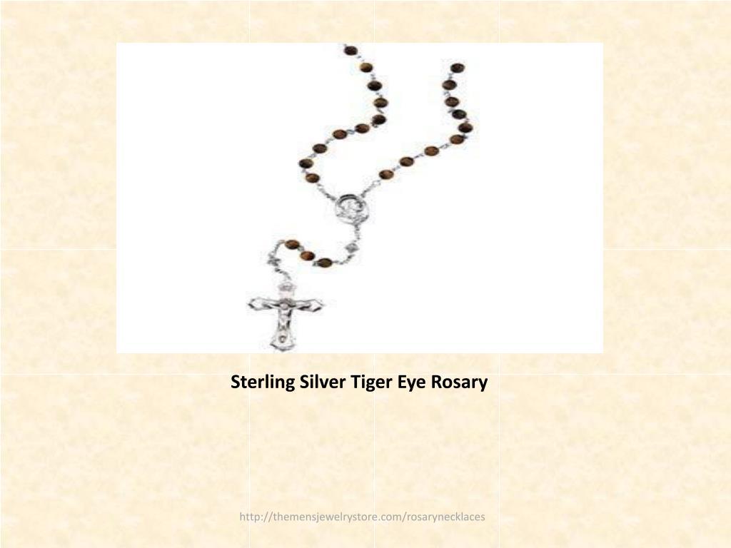 Sterling Silver Tiger Eye Rosary