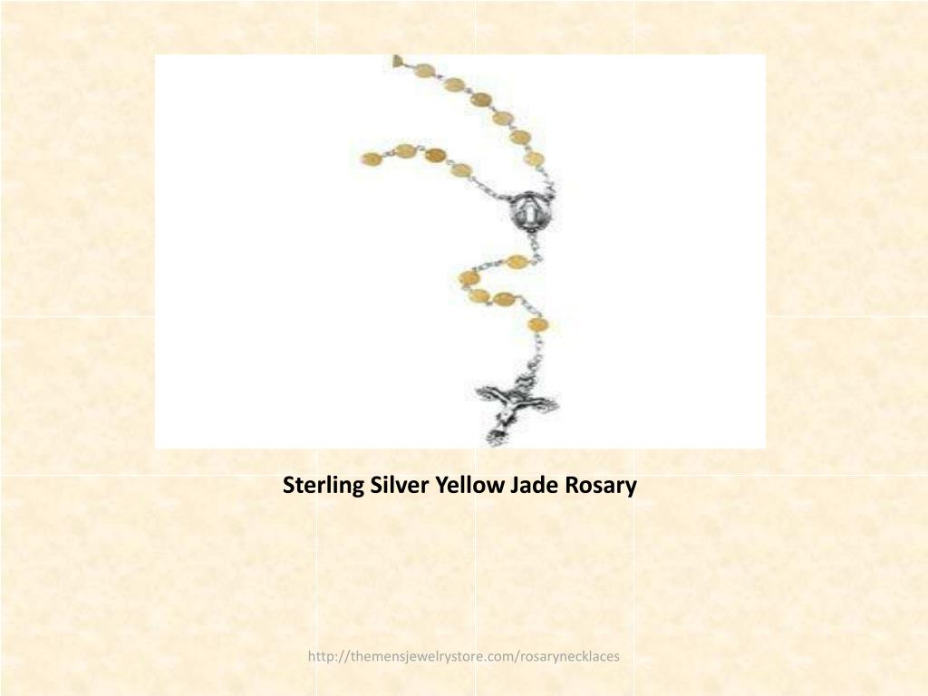 Sterling Silver Yellow Jade Rosary