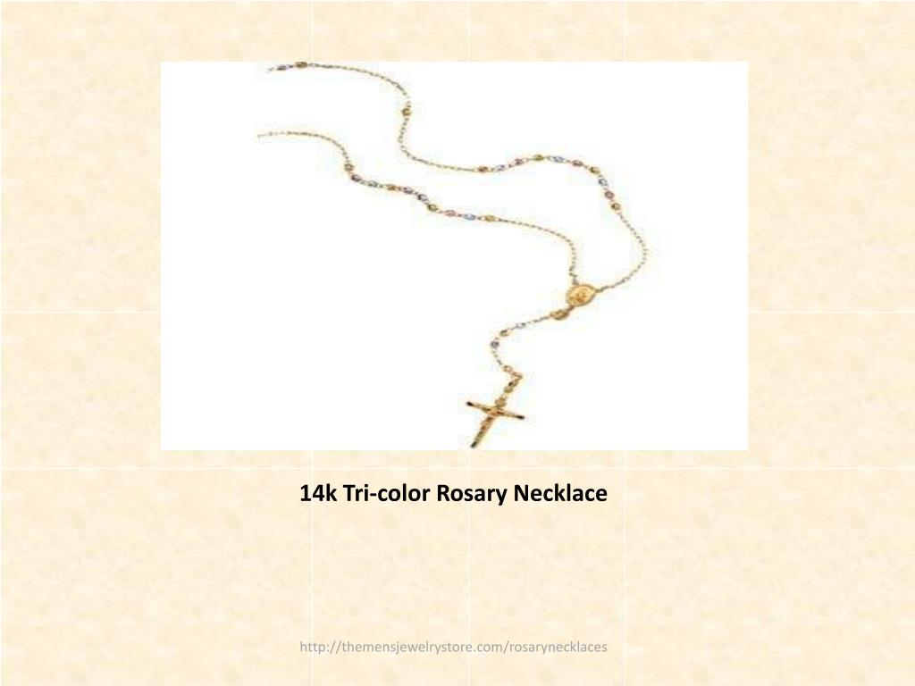 14k Tri-color Rosary Necklace