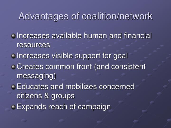 Advantages of coalition/network