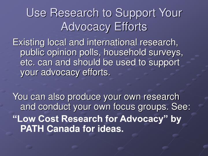 Use Research to Support Your Advocacy Efforts