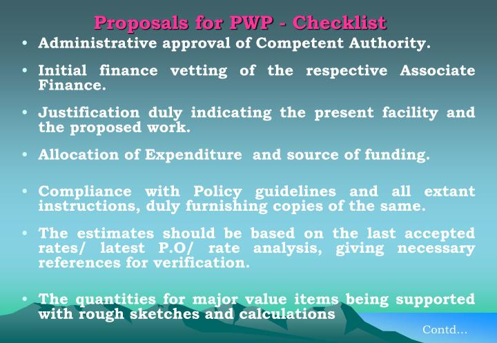 Proposals for PWP - Checklist