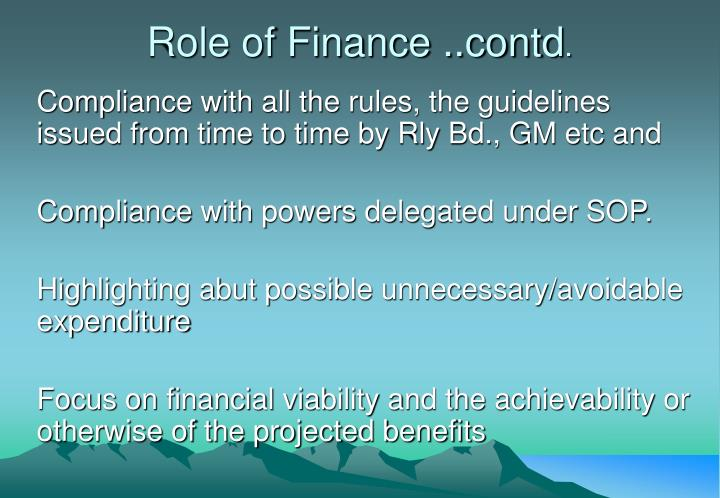 Role of finance contd