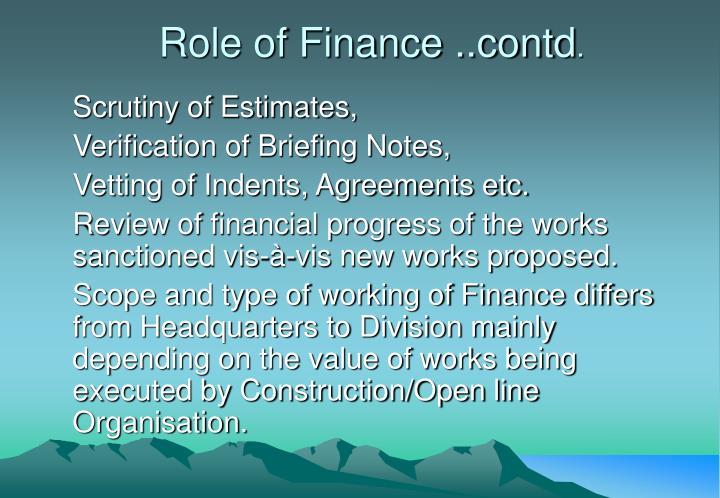 Role of Finance ..contd