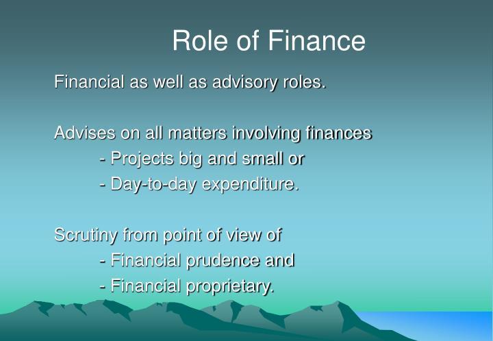 Role of Finance
