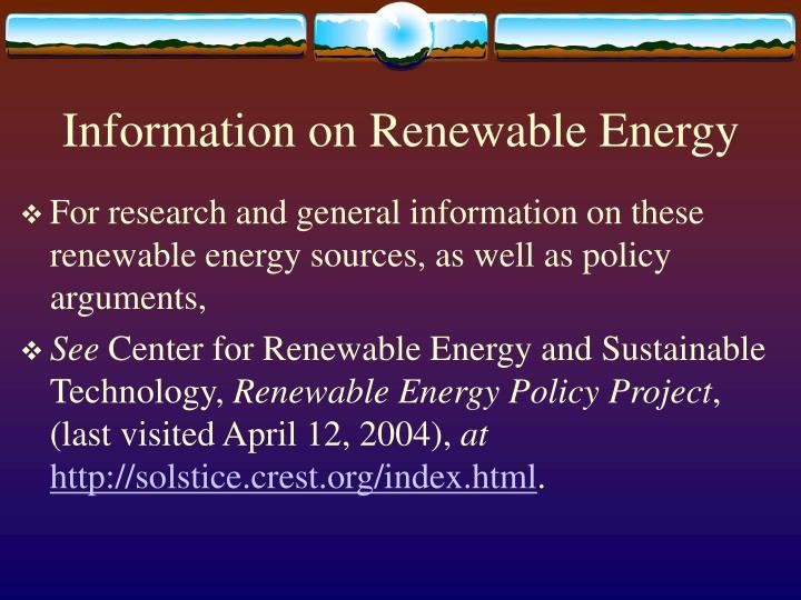 Information on Renewable Energy