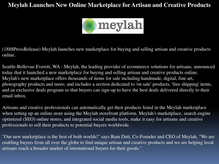 Meylah Launches New Online Marketplace for Artisan and Creative Products