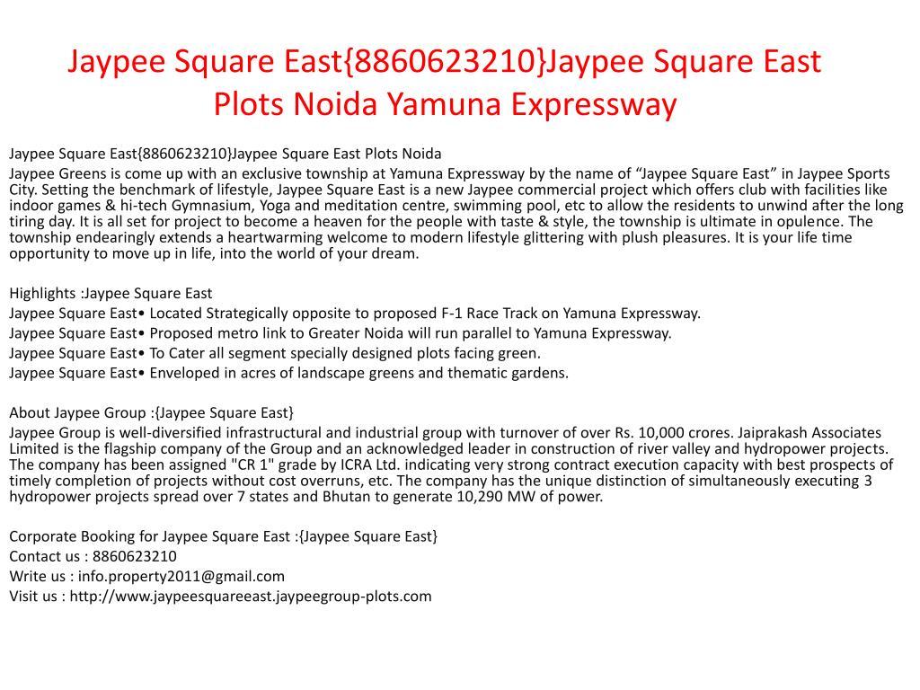 jaypee square east 8860623210 jaypee square east plots noida yamuna expressway l.