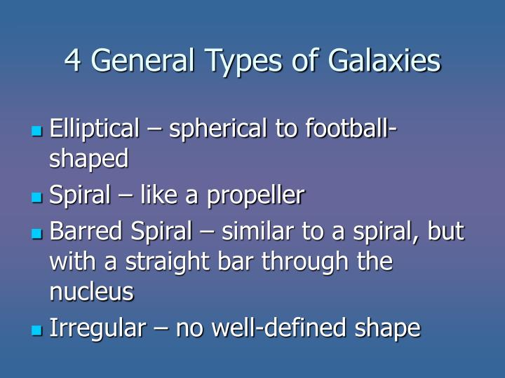 4 general types of galaxies
