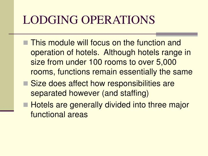 Lodging operations