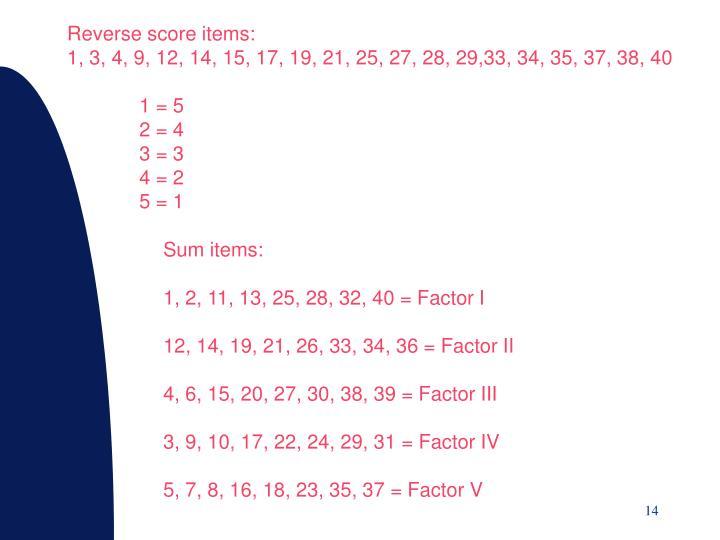 Reverse score items: