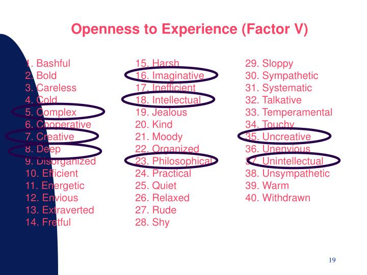 Openness to Experience (Factor V)