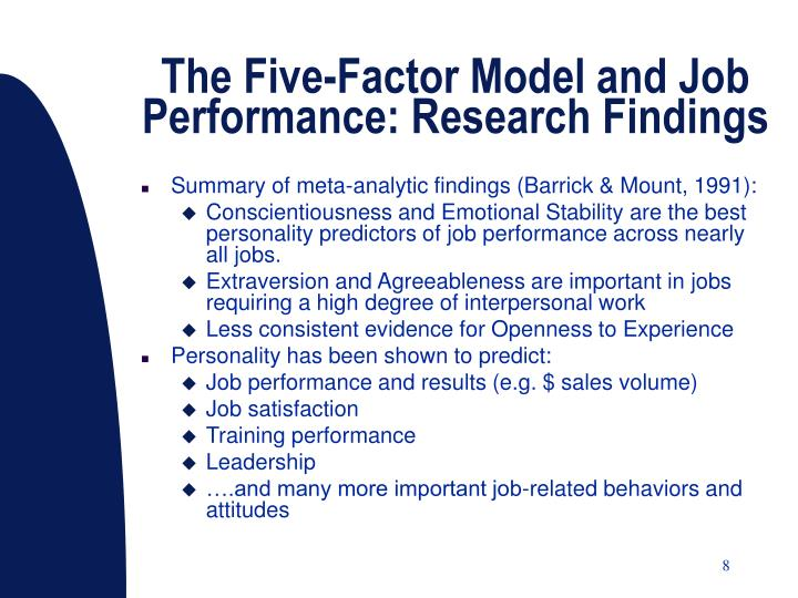 The Five-Factor Model and Job Performance: Research Findings