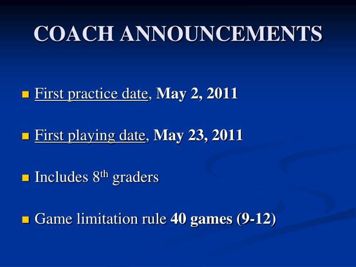 Coach announcements