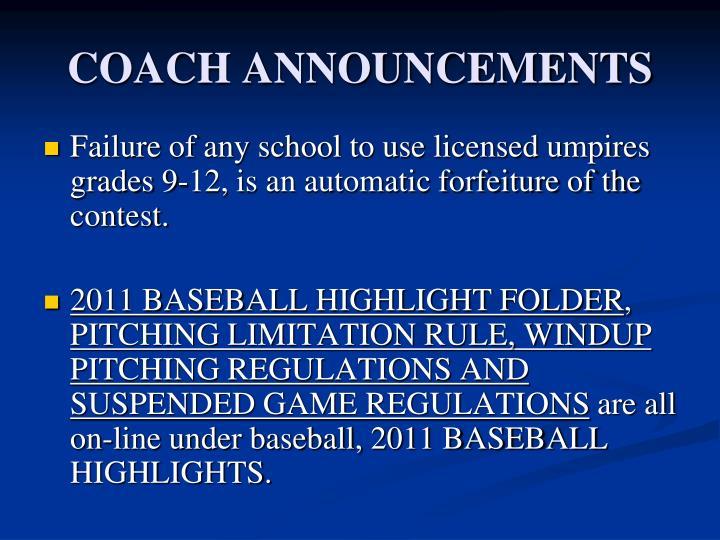 Coach announcements1