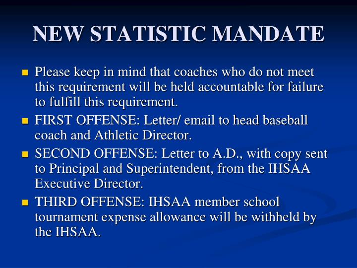 NEW STATISTIC MANDATE