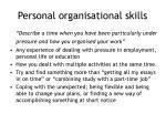 personal organisational skills