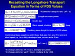 recasting the longshore transport equation in terms of fds values