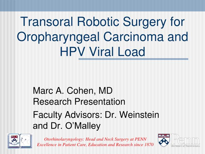 transoral robotic surgery for oropharyngeal carcinoma and hpv viral load n.
