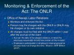 monitoring enforcement of the act the onlr