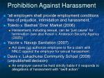 prohibition against harassment