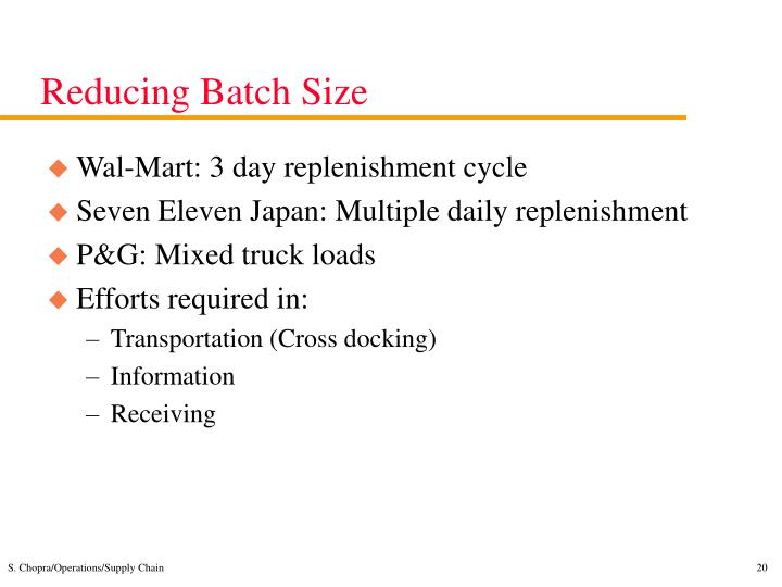 Reducing Batch Size