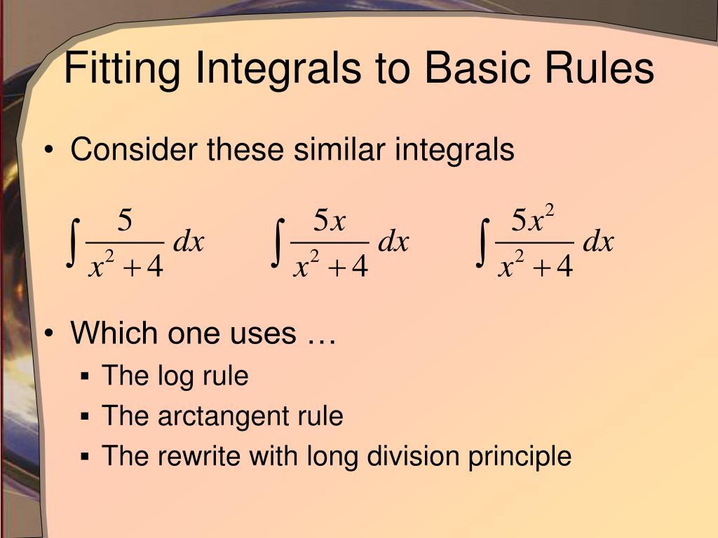 ppt - basic integration rules powerpoint presentation
