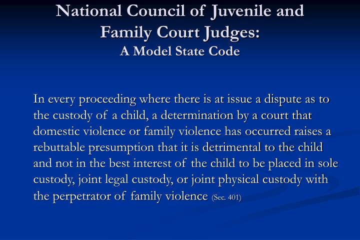 National council of juvenile and family court judges a model state code