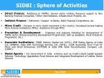 sidbi sphere of activities