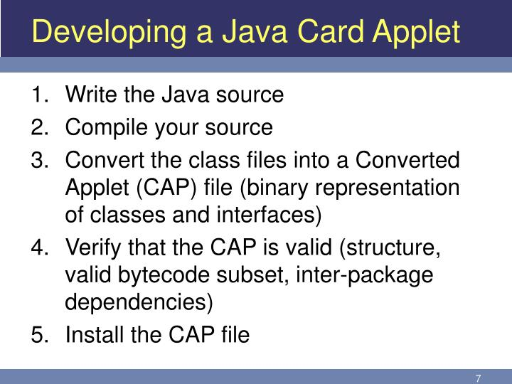 Developing a Java Card Applet