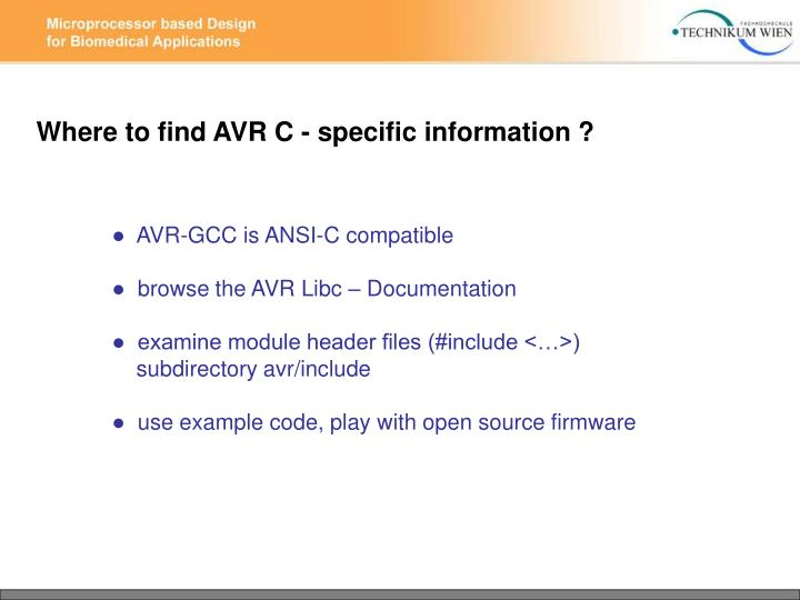 Where to find AVR C - specific information ?