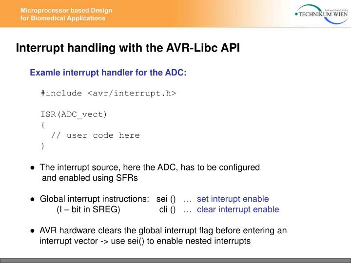 Interrupt handling with the AVR-Libc API