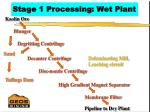 stage 1 processing wet plant