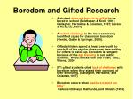 boredom and gifted research