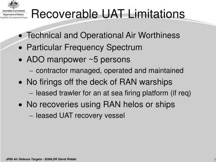 Recoverable UAT Limitations