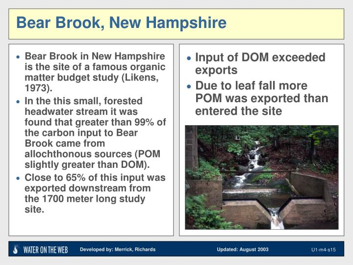 Bear Brook in New Hampshire is the site of a famous organic matter budget study (Likens, 1973).