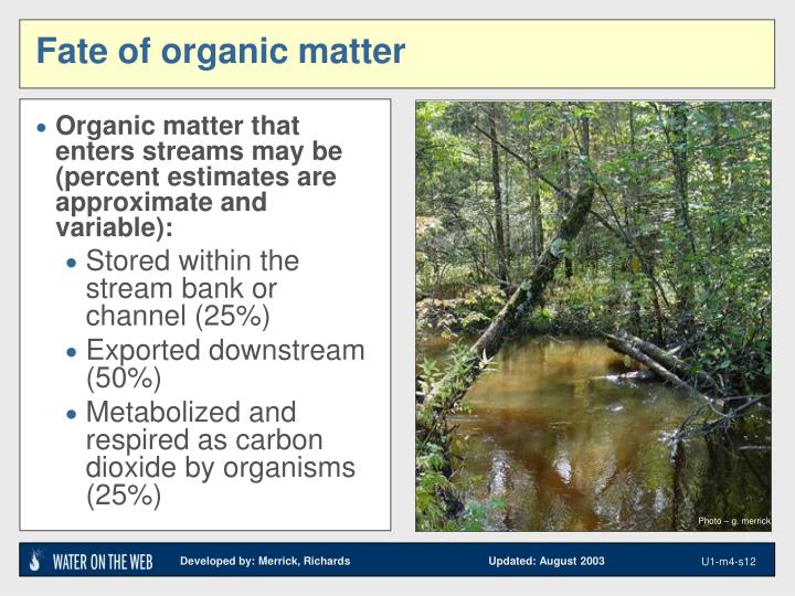 Organic matter that enters streams may be (percent estimates are approximate and variable):