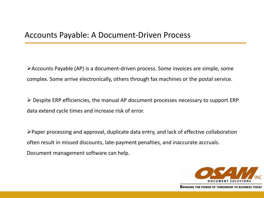 Accounts Payable: A Document-Driven Process