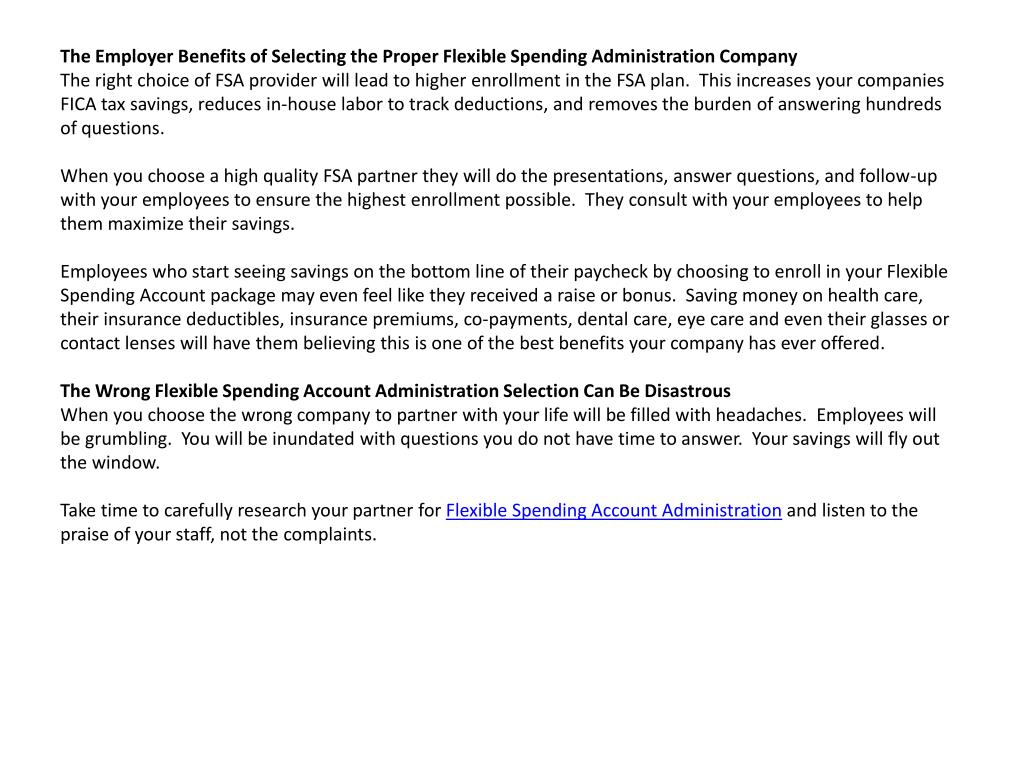 The Employer Benefits of Selecting the Proper Flexible Spending Administration Company