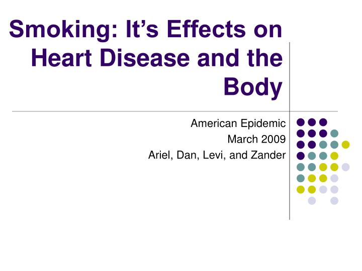smoking it s effects on heart disease and the body n.