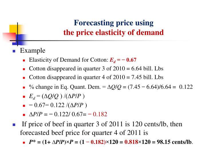 Forecasting price using