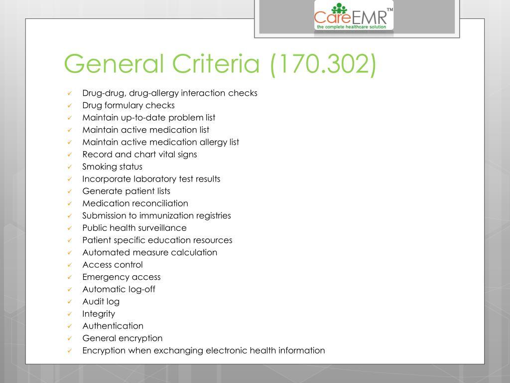 General Criteria (170.302)