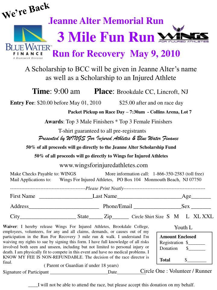 jeanne alter memorial run 3 mile fun run n.