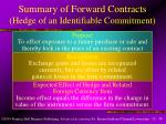 summary of forward contracts hedge of an identifiable commitment
