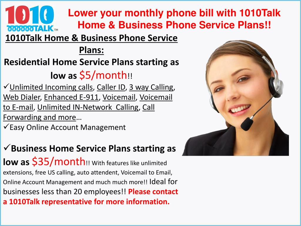 Lower your monthly phone bill with 1010Talk Home & Business Phone Service Plans!!
