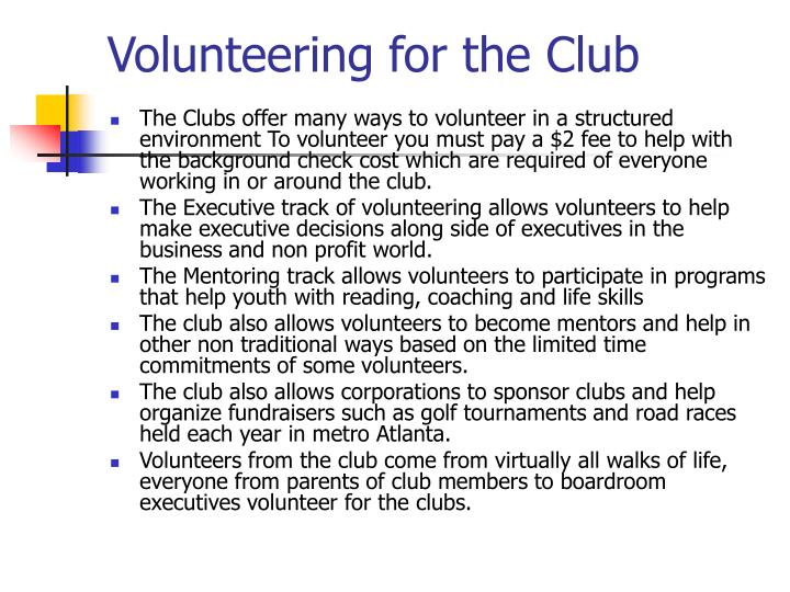 Volunteering for the Club