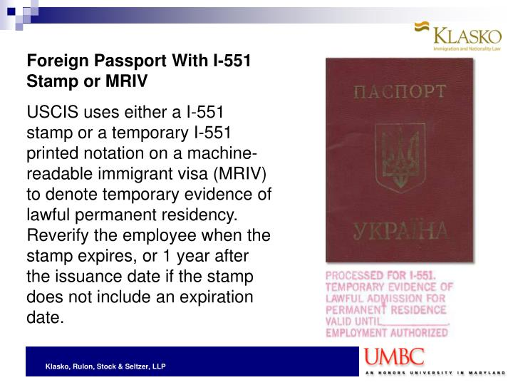 Foreign Passport With I 551 Stamp Or MRIV